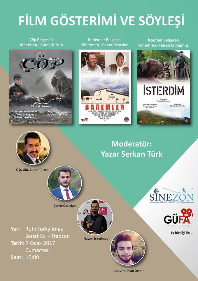 Gümüşhane Film Atölyesi filmleri, Trabzon Sinema Derneği'nde (Sinezon) sinemaseverlerle buluşacak